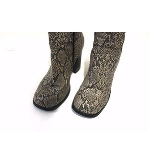 Vintage Shoes - Vintage Square Toe Python Print Chunky Heel Bootie